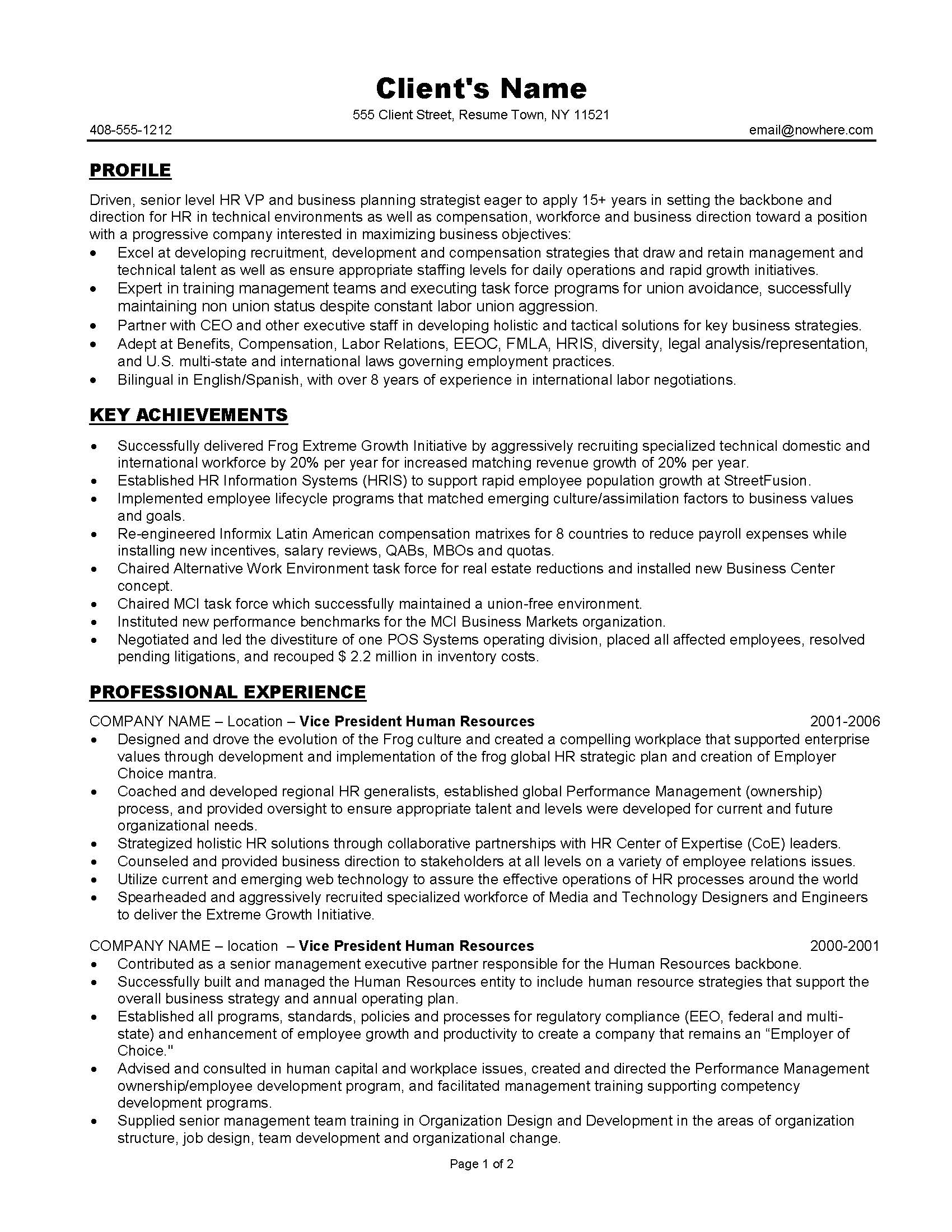 HR management resume sample